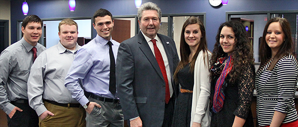 Dr. Rice with students supported by proceeds from last year's RSU Pryor Scholarship Fundraising Breakfast.